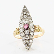 Antique Victorian 14 Karat Yellow Gold Diamond Ruby Ring Fine Vintage Jewelry Estate