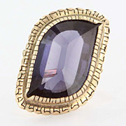 Vintage 14 Karat Yellow Gold Synthetic Alexandrite Cocktail Ring Fine Estate Jewelry