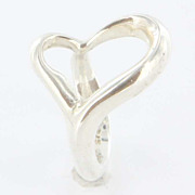 Estate Designer Tiffany & Co Sterling Silver Peretti Open Heart Cuff Ring Fine