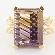 Estate 14 Karat  Yellow Gold Amertrine Diamond Cocktail Ring Fine Jewelry Pre-Owned 7