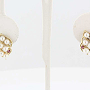 Vintage 14 Karat Yellow Gold Cultured Pearl Diamond Ruby Cocktail Earrings Fine Estate Jewelry