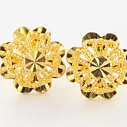 Estate 18 Karat Yellow Gold Filigree Stud Earrings Fine Jewelry Pre-Owned Used