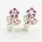 Estate 14 Karat White Gold Diamond Pink Topaz Daisy Flower Earrings Pre-Owned