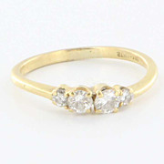 Estate 18 Karat Yellow Gold Diamond Stack Band Ring Fine Jewelry Pre-Owned Used