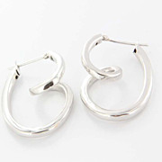 Estate 14 Karat White Gold Swirl Earrings Fine Jewelry Pre-Owned Used