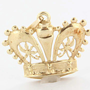 Vintage 14 Karat Yellow Gold Royal Crown Pendant Fine Estate Jewelry Pre-Owned