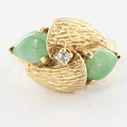 Vintage 14 Karat Yellow Gold Diamond Jade Cocktail Ring Fine Estate Jewelry Used