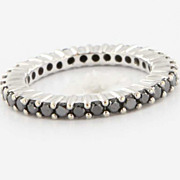 Estate 18 Karat White Gold Black Diamond Eternity Stack Ring Band Fine Jewelry