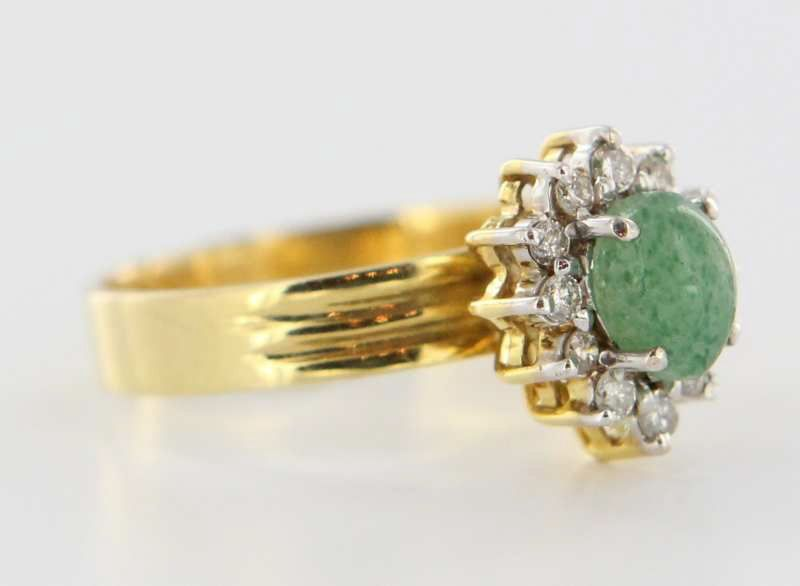 Vintage 14 Karat Yellow Gold Diamond Emerald Ring Fine Estate Jewelry Pre-Owned Used