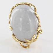 Vintage 14 Karat Yellow Gold Jade Bold Cocktail Ring Fine Estate Jewelry Large