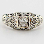 Estate 14 Karat White Gold Diamond Ring Band Fine Jewelry Pre-Owned Used 7