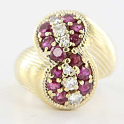 Vintage 18 Karat Yellow Gold Diamond Ruby Cocktail Ring Fine Estate Jewelry Used