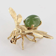 Vintage 14 Karat Yellow Gold Jade Bee Brooch Pin Fine Estate Jewelry Pre-Owned