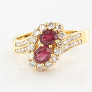 Vintage 14 Karat Yellow Gold Diamond Ruby Ring Fine Estate Jewelry Pre-Owned 6