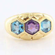 Estate 18 Karat Yellow Gold Amethyst Blue Topaz Cocktail Ring Fine Jewelry Used