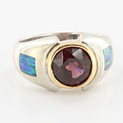 Estate 14 Karat White Gold Garnet Black Opal Mens Womans Ring Fine Jewelry Used