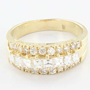 Estate 14 Karat Yellow Gold Diamond Anniversary Ring Band Fine Jewelry Pre-Owned