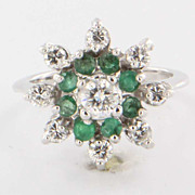 Vintage 14 Karat White Gold Diamond Emerald Cocktail Ring Fine Estate Jewelry