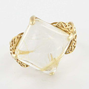 Estate 10 Karat Yellow Gold Rutilated Quartz Cocktail Ring Fine Jewelry Used 7