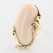 Vintage 14 Karat Yellow Gold Angel Skin Coral Cocktail Ring Fine Jewelry Estate