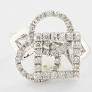 Estate Designer 14 Karat White Gold Diamond Square Circle Cocktail Ring Used