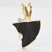 Vintage 14 Karat Yellow Gold Onyx Cultured Pearl Diamond Pendant Fine Jewelry