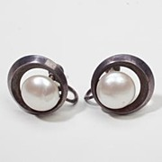 Vintage Estate Designer Mikimoto Button Pearl Silver Earrings Fine Old Heirloom Pre Owned Used