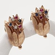 Vintage Estate Diamond Ruby Sapphire 14k Gold Clip Earrings Fine Old Heirloom Pre Owned Used J