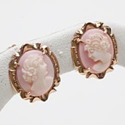 Vintage Estate Carved Cameo 14k Gold Screw Earrings Fine Old Heirloom Pre Owned Used Jewelry