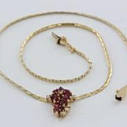 Vintage Estate Diamond Ruby 14k Gold Drop Necklace Fine Old Heirloom Pre Owned Used Jewelry