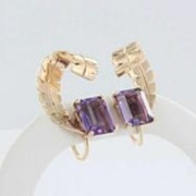 Vintage Estate Retro Amethyst Leaves 14k Gold Cocktail Earrings Fine Old Heirloom Pre Owned Us