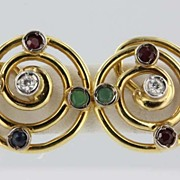 Vintage Estate Diamond Emerald Ruby Sapphire 14k Gold Stud Earrings Fine Old Heirloom Pre Owne