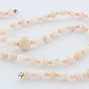 Vintage Estate Coral Bead 10k Gold Strand Necklace Fine Old Heirloom Pre Owned Used Jewelry