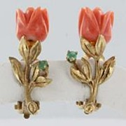 Vintage Estate Carved Coral Flower 14k Gold Clip Earrings Fine Old Heirloom Pre Owned Used Jew