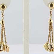 Vintage Estate Tulip Bell Flower 18k Gold Drop Dangle Earrings Fine Old Heirloom Pre Owned Use