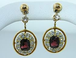 Victorian Garnet Rose Diamond Earrings 14k Gold Jewelry Vintage Estate Fine Old