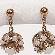 Vintage Estate Opal Flower 14k Gold Drop Earrings Fine Old Heirloom Used Pre Owned Jewelry