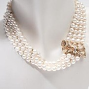 Vintage Estate Diamond Bow Pearl 14k Gold Choker Necklace Fine Old Heirloom Used Pre Owned Jew