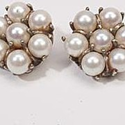 Vintage Estate Pearl 14k Gold Clip On Earrings Fine Old Heirloom Used Pre Owned Jewelry