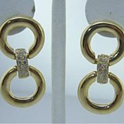 SALE Vintage Estate 1 CTW Diamond Door Knocker Earrings Gold