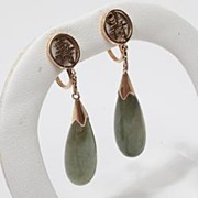 Vintage Estate Jade 14k Gold Drop Earrings Fine Old Heirloom Pre Owned Used Jewelry