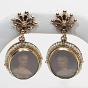 Vintage Estate Portrait Pearl 14k Gold Drop Dangle Earrings Fine Old Heirloom Pre Owned Used J