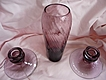 "Gorgeous Vintage Optic Amethyst Glass 7 1/2"" Vase & Candle Stick Holders"