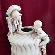 "Stunning Early 1890s Large 13"" Art Nouveau Amphora Bohemia Children Climbing on Vase"