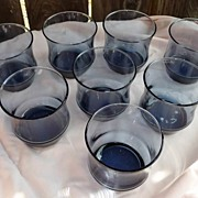 Vintage Anchor Hocking Retro Blue Old Fashions~Tumblers Set of 8