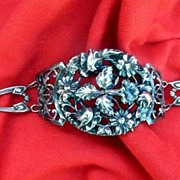 "Beautiful Vintage 1920s Art Nouveau Large Ornate Face Floral Repousse Sterling 8"" Cuff Br"