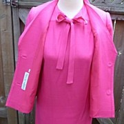 1970s Saks 5th Ave.Designer Baron Peters Hot Raspberry Pink Sheath Dress & Jacket 12