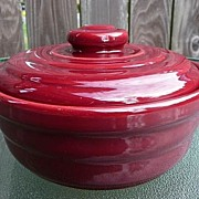 Beautiful Bauer California USA Vintage 1940's~1950's Rare Maroon Ringware Casserole~ Bowl & Li