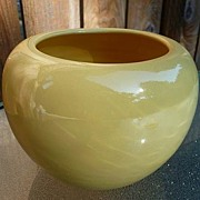 Bauer Pottery L. A. California USA Vintage 1930's~1940's Fred Johnson Yellow Rose Bowl Vase 4