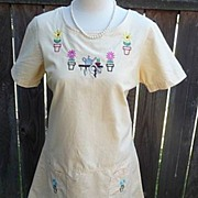 Blue J. Vintage 1970s Yellow Garden Dress 100% Cotton With Embroidery Size Large Petite